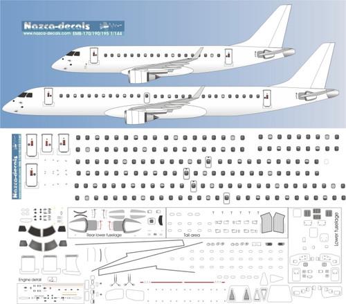 1/144 Scale Decal Detail Sheet EMB-170 thru EMB-195