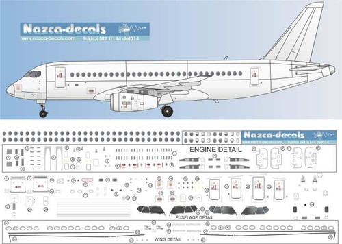 1/144 Scale Decal Detail Sheet Sukhoi SRJ