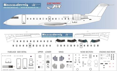 1/72 Scale Decal Detail Sheet CRJ-100 / 200