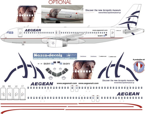 1/144 Scale Decal Aegean A-320 with Acropolis Livery