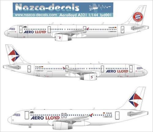 1/144 Scale Decal Aero Lloyd A-320 / 321 Bayern Munchen Livery