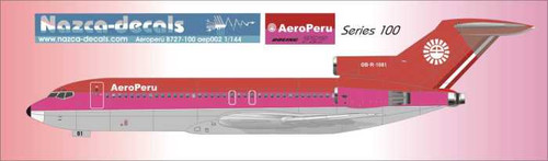 1/144 Scale Decal Aero Peru 727-100 Red and Pink