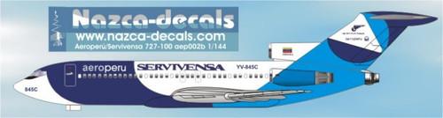 1/144 Scale Decal Aero Peru / Servivensa 727-100