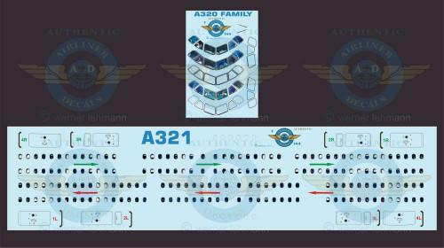 1/144 Scale Decal Lifelike Cockpit / Windows / Doors A321