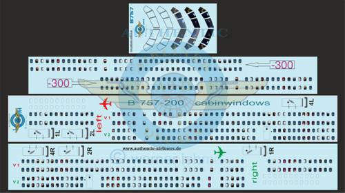 1/144 Scale Decal 757-200 / 300 Lifelike Cockpit & Windows