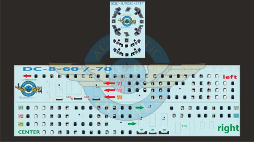 1/144 Scale Decal Lifelike Cockpit / Windows / Doors DC8-60 / 70