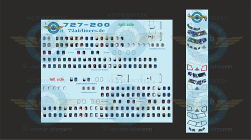 1/72 Scale Decal Lifelike Cockpit / Windows / Doors 727-200