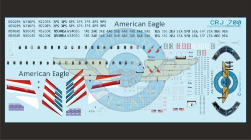 1/144 Scale Decal American Eagle CRJ-700 With Lifelike Cockpit / Windows