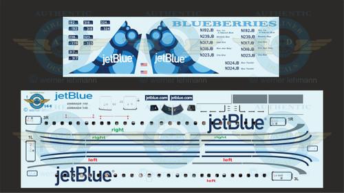 1/144 Scale Decal Jet Blue ERJ-190 BLUEBERRIES With Lifelike Cockpit / Windows
