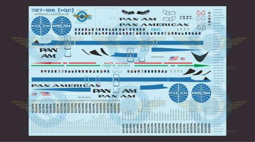 1/144 Scale Decal Pan Am 727-100 With Lifelike Cockpit / Windows