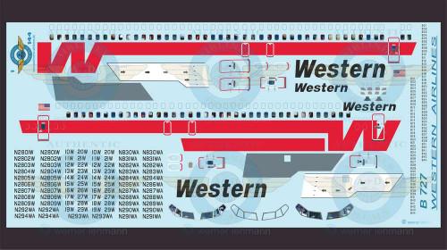 1/144 Scale Decal Western 727 With Lifelike Cockpit / Windows