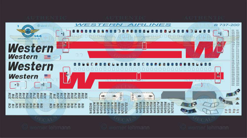 1/144 Scale Decal Western 737-200 With Lifelike Cockpit / Windows
