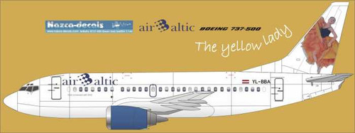 1/144 Scale Decal Air Baltic 737-500 Yellow Lady