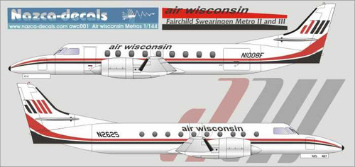1/144 Scale Decal Air Wisconsin Metro II and III