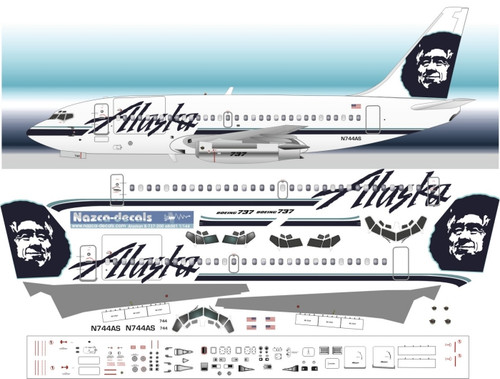 1/72 Scale Decal Alaska 737-200 With Cargo Door
