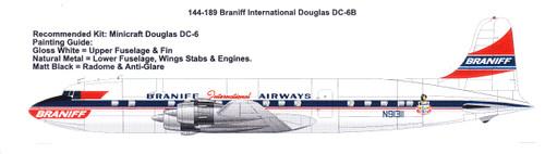 1/144 Scale Decal Braniff International Douglas DC-6B