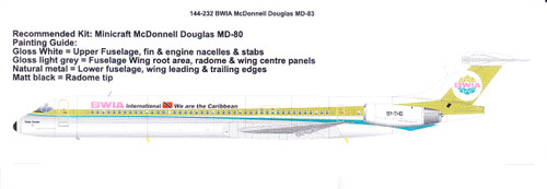 1/144 Scale Decal BWIA McDonnell Douglas MD-83