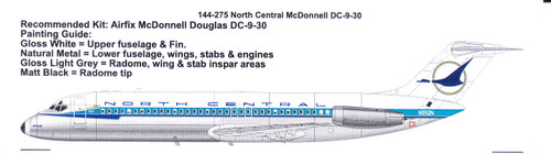 1/144 Scale Decal North Central McDonnell Douglas DC-9-30