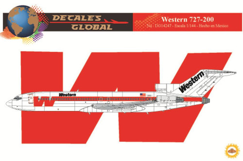 1/144 Scale Decal Western 727-200