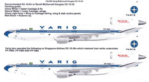 1/144 Scale Decal VARIG Brasil McDonnell Douglas DC-10-30
