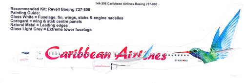 1/144  Scale Decal Caribbean Airlines Boeing 737-800