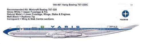 1/144 Scale Decal Varig Boeing 707-320C