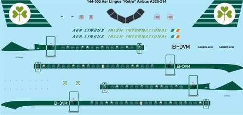 "1/144 Scale Decal Aer Lingus ""Retro"" Airbus A-320"