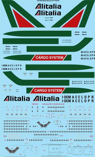 1/144 Scale Decal Alitalia Boeing 747-143/243/243F