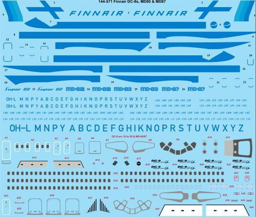 1/144 Scale Decal Finnair Douglas DC-9s & MD-80s