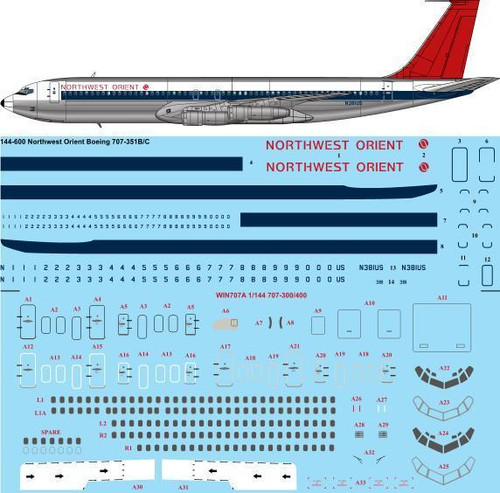 1/144 Scale Decal Northwest Orient Boeing 707-351B/C