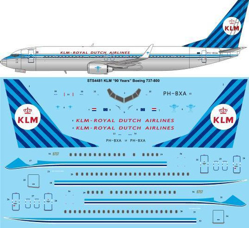 """1/144 Scale Decal KLM """"90 Years"""" Retro Boeing 737-8K2"""