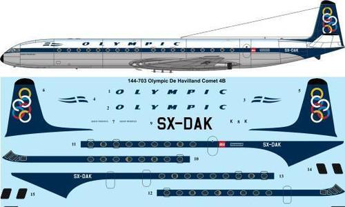 1/144 Scale Decal Olympic Airways De Havilland Comet 4B