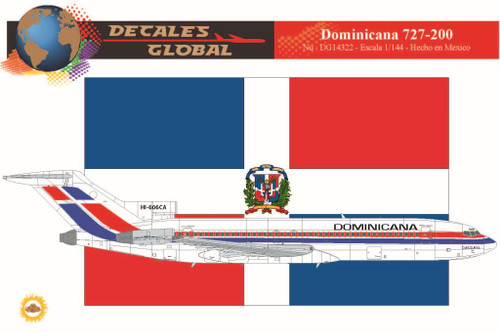 1/144 Scale Decal Dominicana 727-200