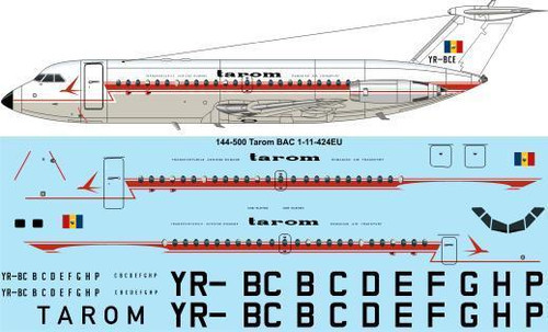 1/144 Scale Decal Tarom BAC 1-11 424EU