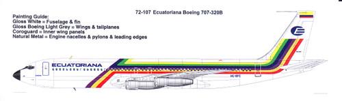 1/72 Scale Decal Ecuatoriana Boeing 707-320B