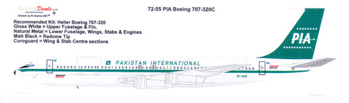 1/72 Scale Decal PIA Pakistan International Boeing 707-320C