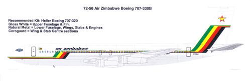 1/72 Scale Decal Air Zimbabwe Boeing 707-330B
