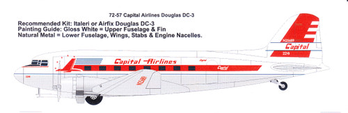 1/72 Scale Decal Capital Airlines Douglas DC-3