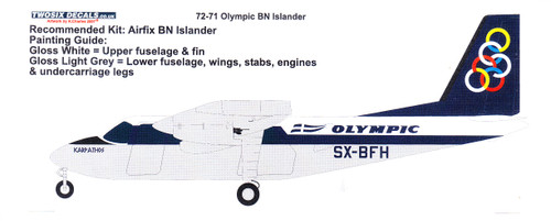 1/72 Scale Decal Olympic Airways Britten Norman Islander