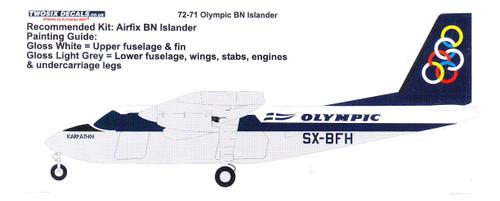 1/72 Scale Decal Olympic Airways Britten Norman Islander