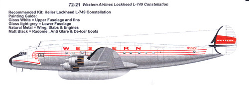 1/72 Scale Decal Western Lockheed L-749 Constellation