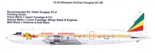 1/72 Scale Decal Ethiopian Airlines Douglas DC-6B