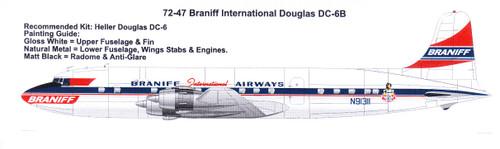1/72 Scale Decal Braniff International Douglas DC-6B