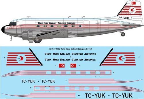 1/72 Scale Decal THY Turk Hava Yollari Douglas C-47A / DC-3
