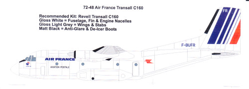 1/72 Scale Decal Air France Late Transal C-160