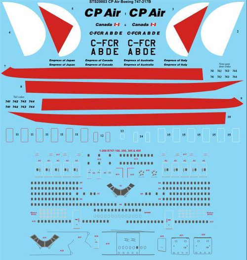1/200 Scale Decal CP Air Boeing 747-217B