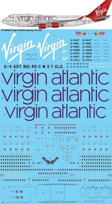 1/200 Scale Decal Virgin Atlantic Boeing 747-400