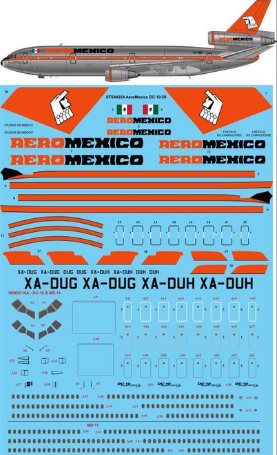 1/144 Scale Decal Aeromexico McDonnell Douglas DC-10-30
