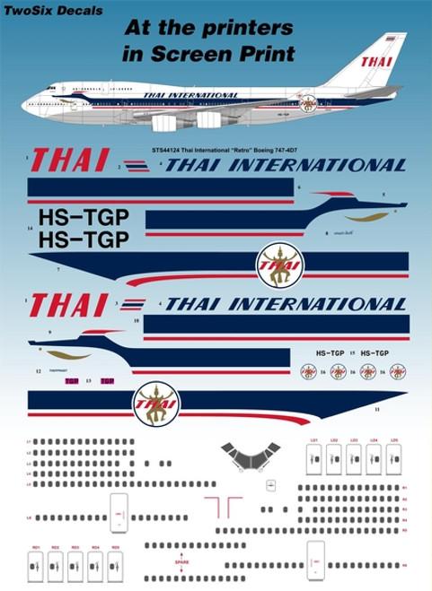 "1/144 Scale Decal Thai International ""Retro"" Boeing 747-4D7"