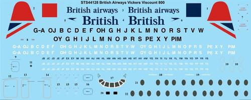 1/144 Scale Decal British Airways Vickers Viscount 800